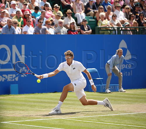 27.06.2015.  Nottingham, England. Aegon Nottingham Open Tennis Tournament. Forehand from singles final winner Denis Istomin (UZB) who beat Sam Querrey (USA) in two sets, both on tie breaks