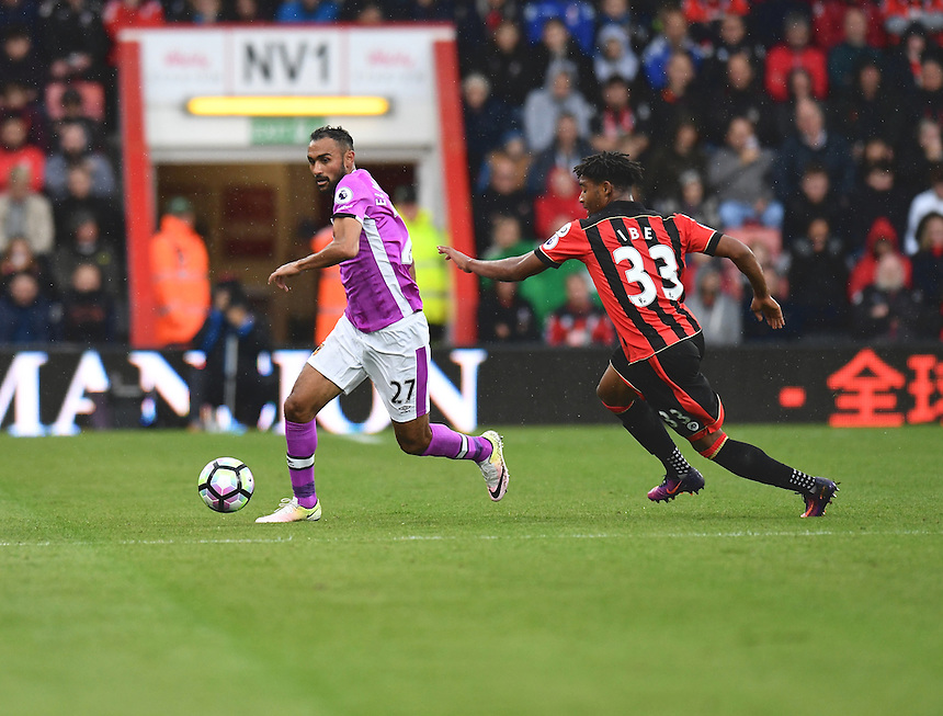 Bournemouth's Jordon Ibe (r) battles with Hull City's Ahmed Elmohamady [l]<br /> <br /> Bournemouth 6 - 1 Hull City<br /> <br /> Photographer David Horton/CameraSport<br /> <br /> The Premier League - Bournemouth v Hull City - Saturday 15th October 2016 - Vitality Stadium - Bournemouth<br /> <br /> World Copyright &copy; 2016 CameraSport. All rights reserved. 43 Linden Ave. Countesthorpe. Leicester. England. LE8 5PG - Tel: +44 (0) 116 277 4147 - admin@camerasport.com - www.camerasport.com