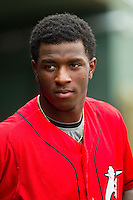 Tim Anderson (2) of the Kannapolis Intimidators during the South Atlantic League game against the Lexington Legends at CMC-Northeast Stadium on July 31, 2013 in Kannapolis, North Carolina.  The Intimidators defeated the Legends 3-2.  (Brian Westerholt/Four Seam Images)