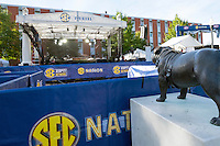 Under the watchful eye of the Bully statue sitting outside Davis Wade Stadium, the SEC Nation team sets up at The Junction in preparation for its daylong broadcast Saturday. The show will begin airing live at 9 a.m. on SEC Network and will analyze the conference's football action throughout the day. The Mississippi State Bulldogs will host the Alabama Crimson Tide at 2:30 p.m., with the game airing on CBS. For complete details, visit www.hailstate.com.<br />
