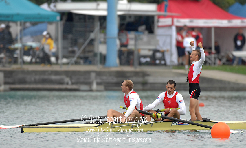 Munich, GERMANY, 01.09.2007,   A Final. POL M2+, Bow, Dawid PACZES and Lukasz KARDAS and Cox, Daniel TROAJANWSKI, Gold Medallist celebrate after winning the men's coxed pair, at the 2007 World Rowing Championships, taking place on the  Munich Olympic Regatta Course, Bavaria. [Mandatory Credit. Peter Spurrier/Intersport Images]. , Rowing Course, Olympic Regatta Rowing Course, Munich, GERMANY
