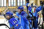 06.01.2020, BLZ Arena, Füssen / Fuessen, GER, IIHF Ice Hockey U18 Women's World Championship DIV I Group A, <br /> Italien (ITA) vs Daenemark (DEN), <br /> im Bild Torjubel nach Tor zum Endstand von 6:4, Sara Maria Magnanini (ITA, #11), Sara Kaneppele (ITA, #22), Alessia Labruna (ITA, #12)<br /> <br /> Foto © nordphoto / Hafner