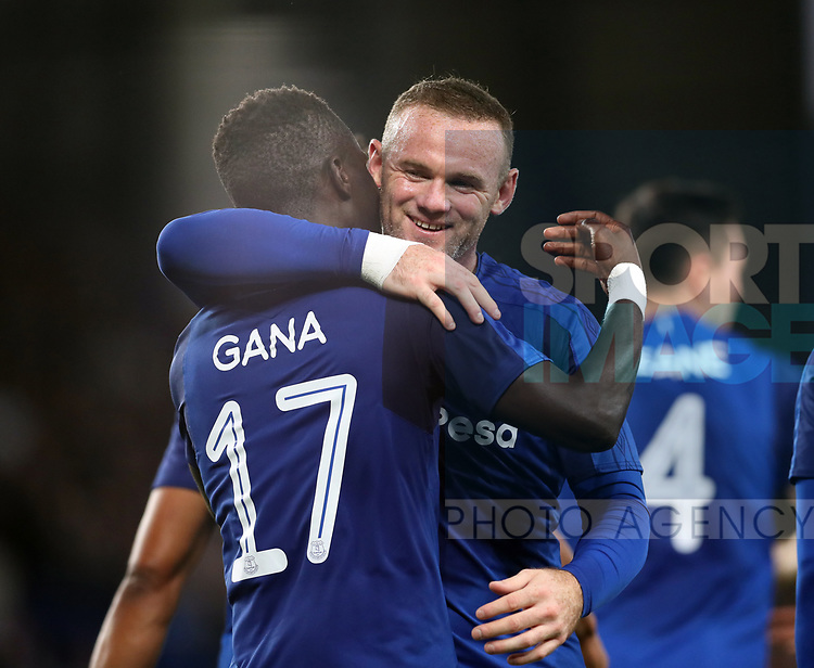 Idrissa Gueye of Everton celebrates scoring the second goal with Wayne Rooney of Evertonduring the Europa League Qualifying Play Offs 1st Leg match at Goodison Park Stadium, Liverpool. Picture date: August 17th 2017. Picture credit should read: David Klein/Sportimage