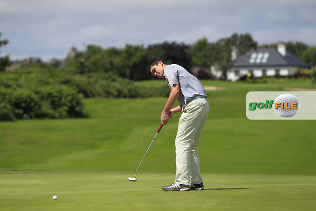 Ciaran Vaughan (Limerick) on the 17th green during Round 3 of  the 2016 Connacht U18 Boys Open, played at Galway Golf Club, Galway, Galway, Ireland. 07/07/2016. <br /> Picture: Thos Caffrey | Golffile<br /> <br /> All photos usage must carry mandatory copyright credit   (&copy; Golffile | Thos Caffrey)