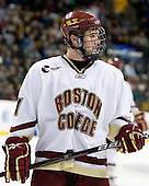 Pat Mullane (BC - 11) - The Boston College Eagles defeated the Harvard University Crimson 6-0 on Monday, February 1, 2010, in the first round of the 2010 Beanpot at the TD Garden in Boston, Massachusetts.