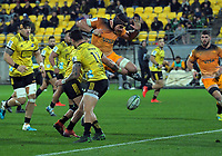 Jaguares' Tomas Lavanini pressures loose ball during the Super Rugby match between the Hurricanes and Jaguares at Westpac Stadium in Wellington, New Zealand on Friday, 17 May 2019. Photo: Dave Lintott / lintottphoto.co.nz