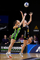 Pulse&rsquo; Karin Burger and Magic&rsquo;s Monica Falkner in action during the ANZ Premiership - Pulse v Magic at TSB Bank Arena, Wellington, New Zealand on Sunday 21 April 2019. <br /> Photo by Masanori Udagawa. <br /> www.photowellington.photoshelter.com