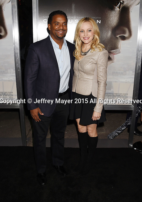 WESTWOOD, CA - NOVEMBER 23: Actor Alfonso Ribeiro (L) and Angela Unkrich attend the screening of Columbia Pictures' 'Concussion' at the Regency Village Theater on November 23, 2015 in Westwood, California.