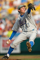 UCLA's starting pitcher Trevor Bauer against Florida in Game 2 of the NCAA Division One Men's College World Series on Saturday June 19th, 2010 at Johnny Rosenblatt Stadium in Omaha, Nebraska.  (Photo by Andrew Woolley / Four Seam Images)