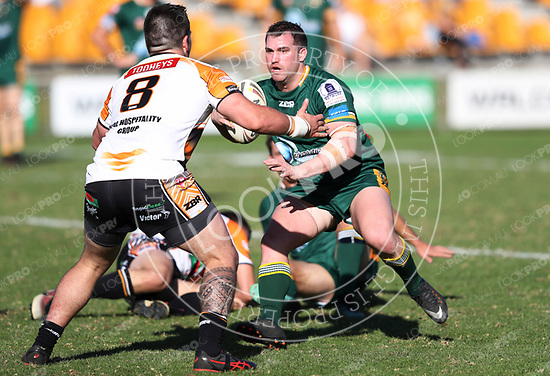 The Wyong Roos play The Entrance Tigers in Round 5 of the 1st Grade Central Coast Rugby League Division at Morry Breen Oval on 6 May, 2018 in Kanwal, NSW Australia. (Photo by Paul Barkley/LookPro)