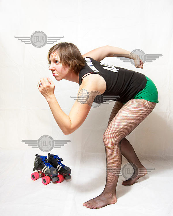Sarah Doom, of the roller derby team, the Boston Derby Dames. Roller derby is an American contact sport, popular with young women, which combines both athleticism and a satirical punk third-wave feminism aesthetic.