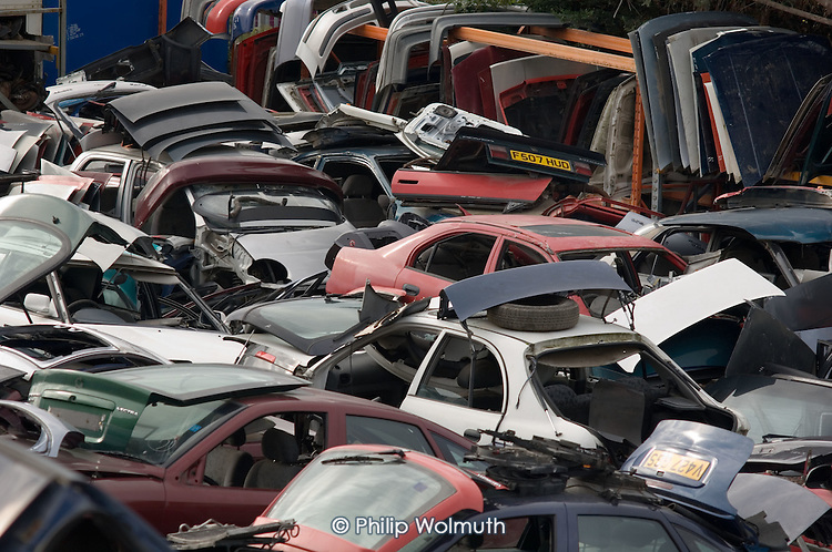 A vehicle scrapyard on derelict land in the Lower Lea Valley, site of the 2012 Olympic Games.
