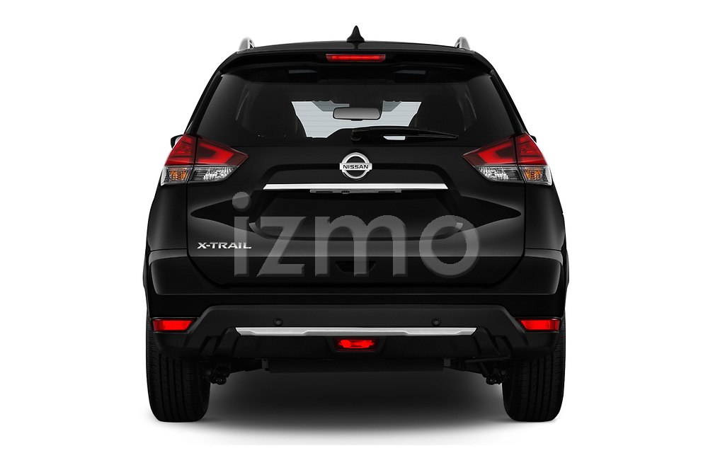 Straight rear view of a 2019 Nissan X-Trail Tekna 5 Door SUV stock images