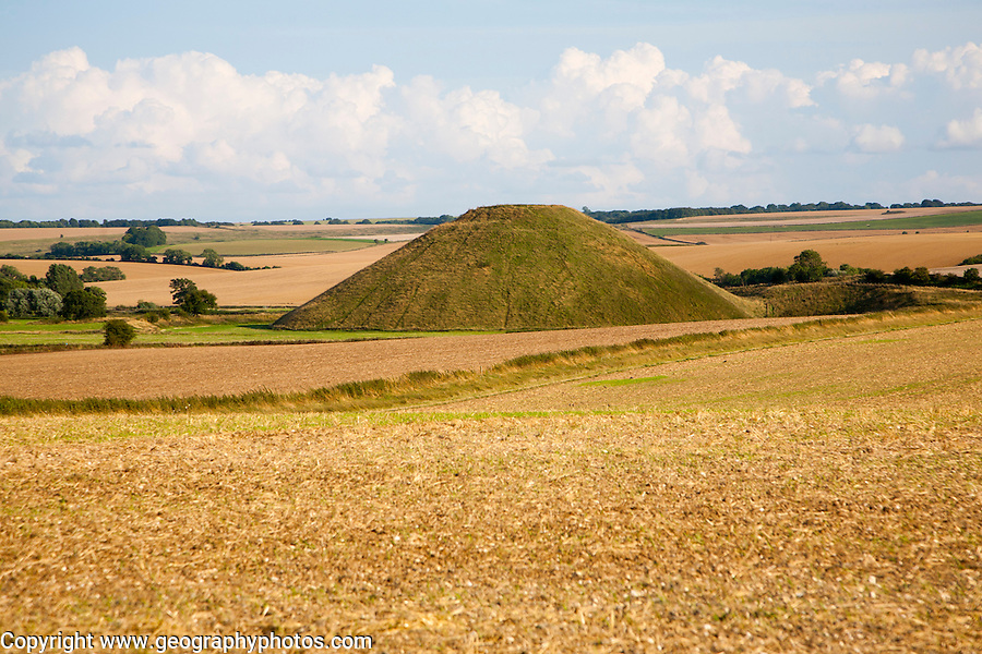 Silbury Hill, the largest man made mound in Europe dating from the Neolithic period, near Avebury, Wiltshire, England