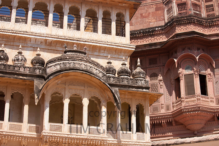 Mehrangarh Fort 18th Century section red sandstone alongside 19th Century section at Jodhpur in Rajasthan, Northern India