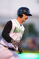 Dayton Dragons catcher Garrett Boulware (30) runs the bases after hitting a home run during a game against the Great Lakes Loons on May 21, 2015 at Fifth Third Field in Dayton, Ohio.  Great Lakes defeated Dayton 4-3.  (Mike Janes/Four Seam Images)