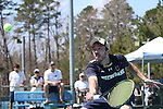 05 April 2015: Notre Dame's Dougie Barnard. The University of North Carolina Tar Heels hosted the University of Notre Dame Fighting Irish at Cone-Kenfield Tennis Center in Chapel Hill, North Carolina in a 2014-15 NCAA Division I Men's Tennis match. UNC won the match 5-2.