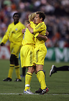 7 May 2005.  Domenic Mediate (28) is congratulated by his teammate Simon Elliott (7) on his goal against DC United at RFK Stadium in Washington, DC.