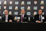 10 August 2011: From left: U.S. Soccer Federation General Secretary Dan Flynn, Major League Soccer commissioner Don Garber, and President of NBC Sports Jon Miller. MLS and NBC held a press conference at Lincoln Financial Field in Philadelphia, Pennsylvania announcing a three year broadcast deal involving MLS and U.S. Men's National Team games to be shown on NBC and NBC Sports Network (currently Versus) from 2012 to 2014.