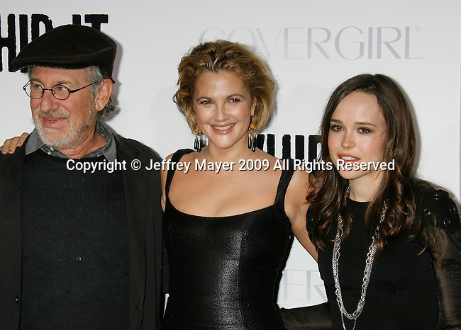 "HOLLYWOOD, CA. - September 29: Steven Spielberg, Drew Barrymore and Ellen Page arrive at the Los Angeles premiere of ""Whip It"" at the Grauman's Chinese Theatre on September 29, 2009 in Hollywood, California."