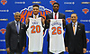 New York Knicks 2018 NBA Draft picks Kevin Knox (first round, ninth overall), second from left, and Mitchell Robinson (second round, 36th overall), second from right, pose with President Steve Mills, far left, and General Manager Scott Perry during the draftees' introductory news conference at Madison Square Garden Training Center in Greenburgh, NY on Friday, June 22, 2018.