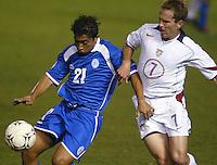 Eddie Lewis fights for a ball in San Salvador, El Salvador, Saturday Oct. 9, 2004. USA won 2-0.