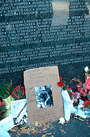 Dedication of Vietnam Veterans Memorial wall photos & flowers.  St Paul Minnesota USA