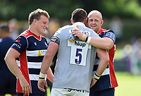 Ross McMillan of Bristol Rugby hugs James Phillips of Bath Rugby after the match. Pre-season friendly match, between Bristol Rugby and Bath Rugby on August 12, 2017 at the Cribbs Causeway Ground in Bristol, England. Photo by: Patrick Khachfe / Onside Images