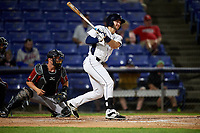Binghamton Rumble Ponies left fielder Kevin Taylor (9) follows through on a swing during a game against the Altoona Curve on May 17, 2017 at NYSEG Stadium in Binghamton, New York.  Altoona defeated Binghamton 8-6.  (Mike Janes/Four Seam Images)