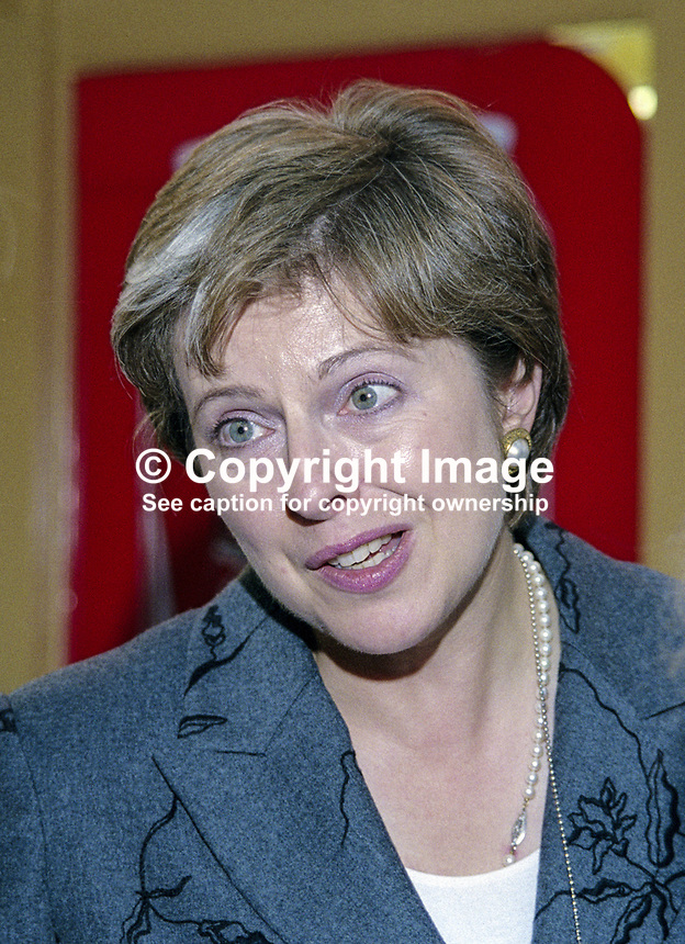 Teresa May, MP, Conservative Party, UK, Shadow Education and Employment Secretary, October 1999, 19991021.<br />