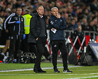 23rd November 2019; Liberty Stadium, Swansea, Glamorgan, Wales; English Football League Championship, Swansea City versus Millwall; Steve Cooper manager of Swansea City speaks with assistant first team coach Mike Marsh - Strictly Editorial Use Only. No use with unauthorized audio, video, data, fixture lists, club/league logos or 'live' services. Online in-match use limited to 120 images, no video emulation. No use in betting, games or single club/league/player publications