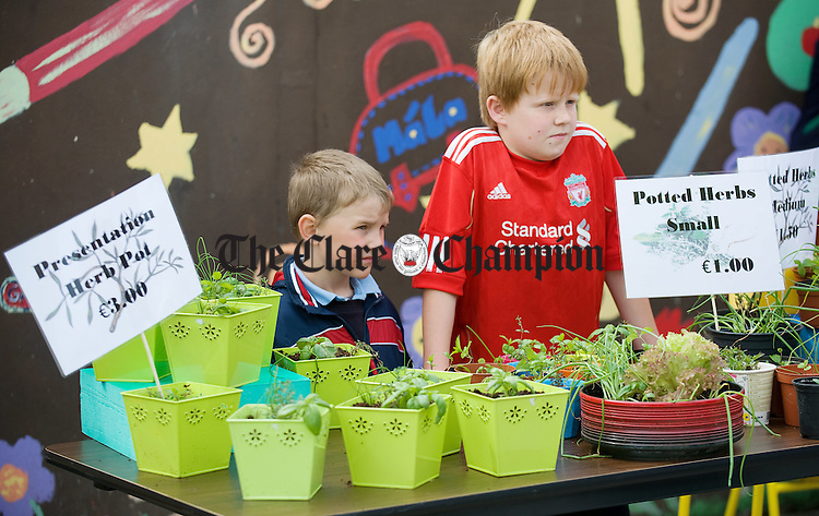 Keith Mc Mahon and Tom Ryan man their station during the annual open air market day at Carrigaholt National school. Photograph by John Kelly.