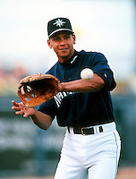Alex Rodriguez of the Seattle Mariners during a spring training game at Peoria Sports Complex in Peoria, Arizona during the 1997 season.(Larry Goren/Four Seam Images)