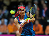 Arena Loire,  Trélazé,  France, 16 April, 2016, Semifinal FedCup, France-Netherlands, Garcia (FRA)<br /> Photo: Henk Koster/Tennisimages