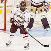 Quinn Smith (BC - 27) - The Boston College Eagles defeated the visiting University of New Brunswick Varsity Reds 6-4 in an exhibition game on Saturday, October 4, 2014, at Kelley Rink in Conte Forum in Chestnut Hill, Massachusetts.