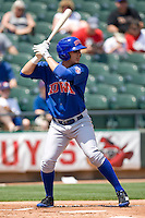 Iowa Cubs CF Luis Montanez (2) at bat against the Round Rock Express on April 10th, 2011 at Dell Diamond in Round Rock, Texas.  (Photo by Andrew Woolley / Four Seam Images)