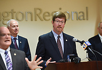 Johnny Key, Secretary of the Arkansas Department of Education, speaks, Monday, March 16, 2020 during a press conference at the Pat Walker Center for Seniors in Fayetteville. Check out nwaonline.com/200317Daily/ for today's photo gallery.<br /> (NWA Democrat-Gazette/Charlie Kaijo)<br /> <br /> Gov. Asa Hutchinson, Dr. Nathaniel Smith, Secretary of the Arkansas Department of Health and other officials provided an update regarding Arkansas's coronavirus response.