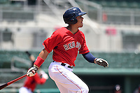 GCL Red Sox first baseman Darwin Pena (5) at bat during a game against the GCL Rays on June 25, 2014 at JetBlue Park at Fenway South in Fort Myers, Florida.  GCL Red Sox defeated the GCL Rays 7-0.  (Mike Janes/Four Seam Images)