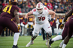 Wisconsin Badgers offensive lineman David Edwards (79) during an NCAA College Big Ten Conference football game against the Minnesota Golden Gophers Saturday, November 25, 2017, in Minneapolis, Minnesota. (Photo by David Stluka)