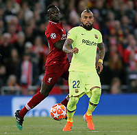 Barcelona's Arturo Vidal under pressure from Liverpool's Sadio Mane<br /> <br /> Photographer Rich Linley/CameraSport<br /> <br /> UEFA Champions League Semi-Final 2nd Leg - Liverpool v Barcelona - Tuesday May 7th 2019 - Anfield - Liverpool<br />  <br /> World Copyright © 2018 CameraSport. All rights reserved. 43 Linden Ave. Countesthorpe. Leicester. England. LE8 5PG - Tel: +44 (0) 116 277 4147 - admin@camerasport.com - www.camerasport.com