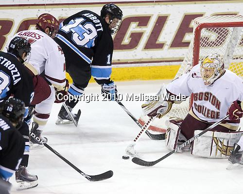 Brian Flynn (Maine - 10), David deKastrozza (Maine - 28), Tommy Cross (BC - 4), Spencer Abbott (Maine - 13), John Muse (BC - 1) - The Boston College Eagles defeated the University of Maine Black Bears 6-1 on Friday, January 15, 2010, at Conte Forum in Chestnut Hill, Massachusetts.