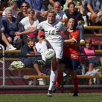 Boston College forward/midfielder Gibby Wagner (10) volley pass as University of Virginia midfielder/forward Erica Hollenberg (23) defends. Boston College defeated University of Virginia, 2-0, at the Newton Soccer Field, on September 18, 2011.