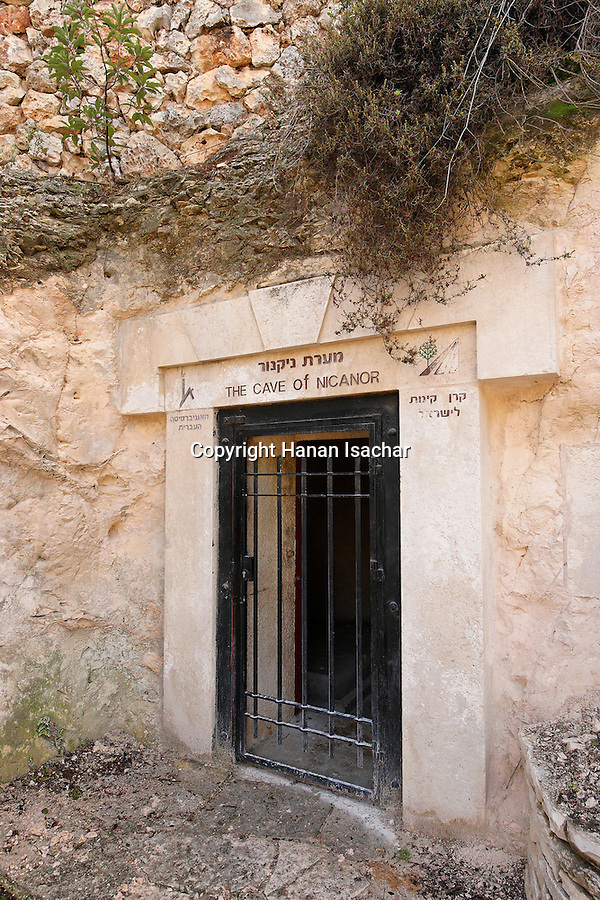 Israel, Jerusalem, The Cave of Nicanor on Mount Scopus. A burial cave from the Second Temple period, buried there are Zionist leaders Yehuda Pinsker and Menahem Ussishkin<br />