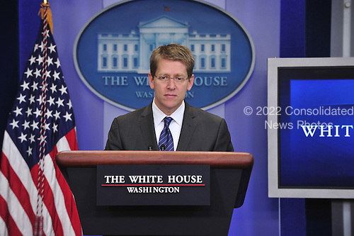 White House Press Secretary Jay Carney conducts his daily briefing in the Brady Briefing Room at the White House in Washington, D.C. on Thursday, July 28, 2011..Credit: Ron Sachs / Pool via CNP