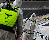 Members of the Newcastle United cleaning team share a word at half time <br /> <br /> Photographer Alex Dodd/CameraSport<br /> <br /> FA Cup Quarter-Final - Newcastle United v Manchester City - Sunday 28th June 2020 - St James' Park - Newcastle<br />  <br /> World Copyright © 2020 CameraSport. All rights reserved. 43 Linden Ave. Countesthorpe. Leicester. England. LE8 5PG - Tel: +44 (0) 116 277 4147 - admin@camerasport.com - www.camerasport.com