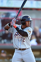Akron RubberDucks shortstop Francisco Lindor (12) at bat during a game against the Erie SeaWolves on May 17, 2014 at Jerry Uht Park in Erie, Pennsylvania.  Erie defeated Akron 2-1.  (Mike Janes/Four Seam Images)