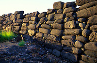 Well preserved wall at the Kaloko Heiau, Honokohau, Big Island of Hawaii.