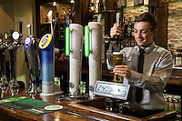 Ben Lovegrove pours the perfect pint at The Fountain Bridge carvery restaurant and pub at Kirkby in Ashfield, Nottinghamshire.