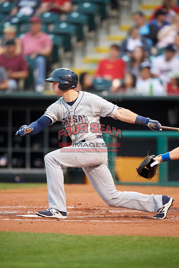 Colorado Springs Sky Sox third baseman Ryan Cordell (7) follows through on a swing during a game against the Oklahoma City Dodgers on June 2, 2017 at Chickasaw Bricktown Ballpark in Oklahoma City, Oklahoma.  Colorado Springs defeated Oklahoma City 1-0 in ten innings.  (Mike Janes/Four Seam Images)
