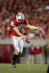 Wisconsin Badgers punter Brad Nortman (98) punts the ball during an NCAA college football game against the Ohio State Buckeyes on October 16, 2010 at Camp Randall Stadium in Madison, Wisconsin. The Badgers beat the Buckeyes 31-18. (Photo by David Stluka)